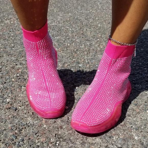 Hot Pink Bedazzle Sock Tennis Shoe